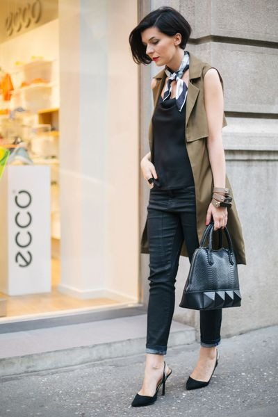 eggshell H&M scarf - black Orsay jeans - black Mexx bag - black Zara sandals