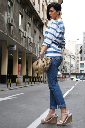 blue Mango jeans - sky blue Springfield sweater - nude david jones bag - white u