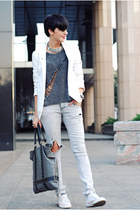white New Yorker blazer - silver Zara jeans - charcoal gray Sheinside sweater