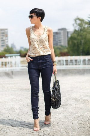 nude OASAP shirt - navy Joes Jeans jeans - black romwe bag