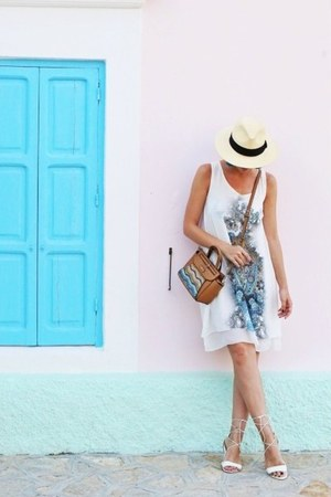 white marx dress - eggshell H&M hat - tawny Parfois bag - white Aldo sandals