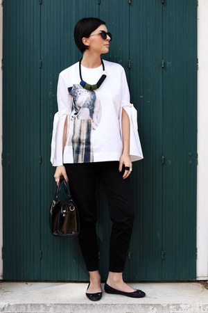 black Sisley bag - black H&M pants - black Zara flats - white H&M blouse
