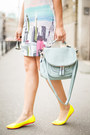 Light-pink-sheinside-dress-light-blue-oasap-bag-yellow-alter-flats