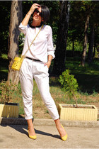 white Sheinside shirt - light yellow pull&bear bag - white Zara pants