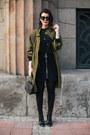 Army-green-front-row-shop-jacket-black-glam-up-bag-black-zara-skirt