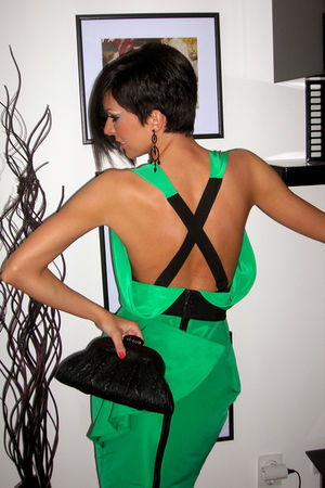 green GF Ferre dress - black Glam up bag