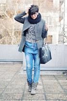 heather gray By Zoe coat - heather gray Krisbbo boots - blue Bershka jeans