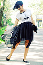 black Sheinsidecom skirt - white Zara shirt - black H&M flats
