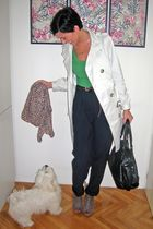 beige Mango coat - green time out sweater - blue pants - brown Jessica Simpson s