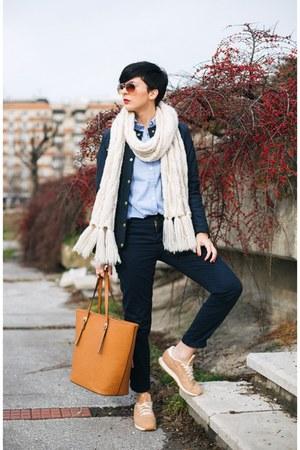 navy lindex jacket - light blue lindex shirt - white lindex scarf