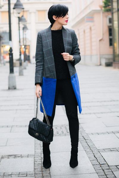 black Zara boots - heather gray Choies coat - black New Yorker sweater