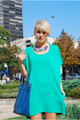 Yellow-alter-flats-aquamarine-romwe-dress-navy-oasap-bag