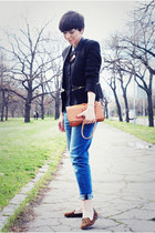 black Sheinside blazer - navy Zara jeans - tawny OASAP bag