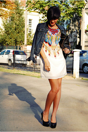 white Sheinside dress - black OASAP shoes - navy Dorothy Perkins jacket
