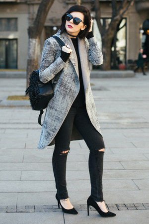 black Mango jeans - heather gray Helena Scrittore coat - black Nine West pumps