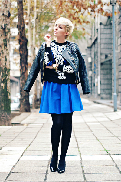 black Sheinside sweater - black lindex jacket - blue Sandra Lalović skirt