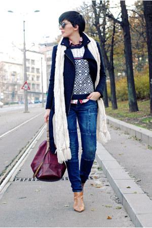 blue lindex jeans - bronze Zara boots - navy lindex jacket