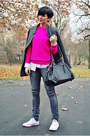 hot pink no brand sweater - charcoal gray By Zoe coat - dark gray Jagger jeans