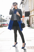 blue Sheinside sweater - gray Choies coat - black lindex bag - black Zara pants