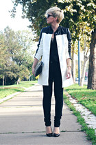 black Mango jeans - white Sheinside coat - black Oasapcom bag