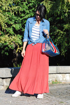 coral herejcom skirt - blue Sheinside shirt - blue Bimba&Lola bag