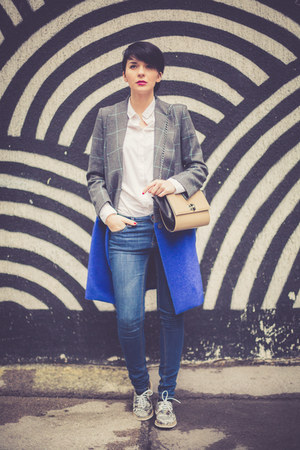 silver Choies coat - blue lindex jeans - white Stradivarius shirt