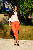 black Sheinside blazer - ivory Sheinside blouse - salmon custom made pants
