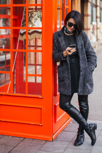 gray H&M dress - dark gray OFINGER STORE coat - gray H&M scarf