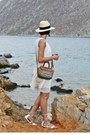 White-marx-dress-eggshell-h-m-hat-tawny-parfois-bag-white-aldo-sandals