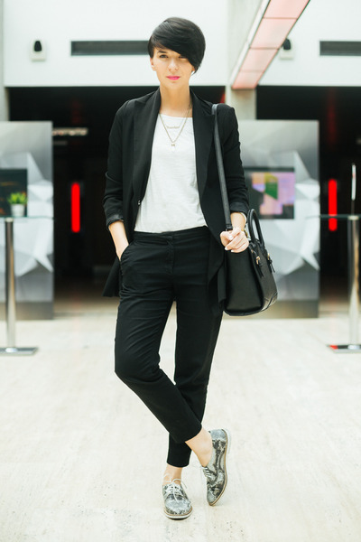 black Sheinside blazer - heather gray Choies shoes - black lindex bag