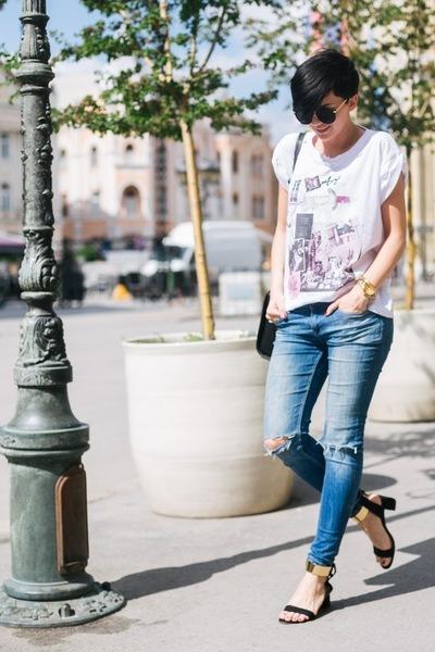 black lindex bag - blue Zara jeans - white Iva Bošković t-shirt