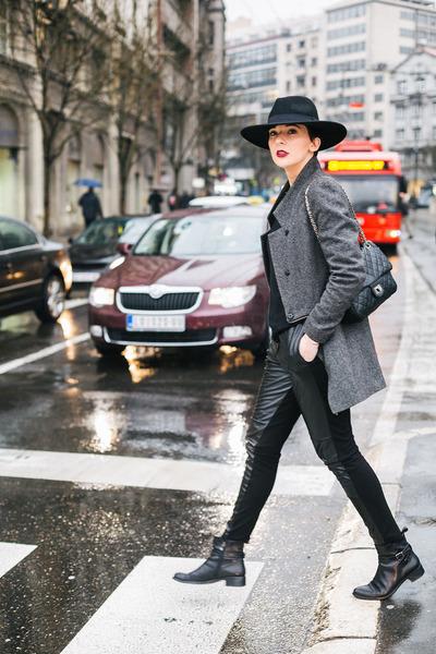 black Nursace boots - gray By Zoe coat - black lindex hat - black WOAKAO bag