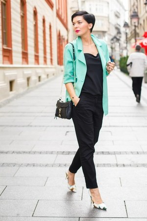 black lindex shirt - aquamarine OASAP blazer - black OASAP bag - black H&M pants