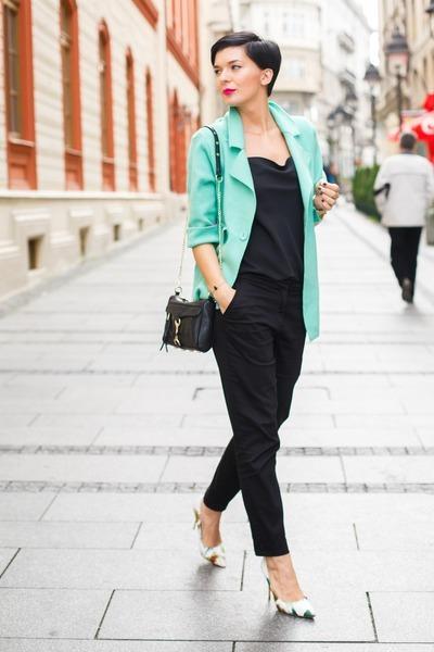 black lindex shirt - aquamarine OASAP blazer - black OASAP bag - black H&M pants