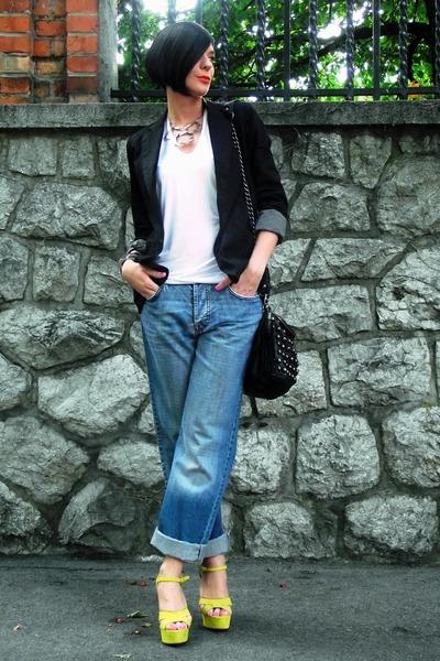 blue boyfriends jeans - black pull&bear blazer - white Tiffany shirt - yellow Za