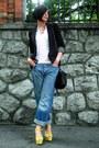 Blue-boyfriends-jeans-black-pull-bear-blazer-white-tiffany-shirt-yellow-za
