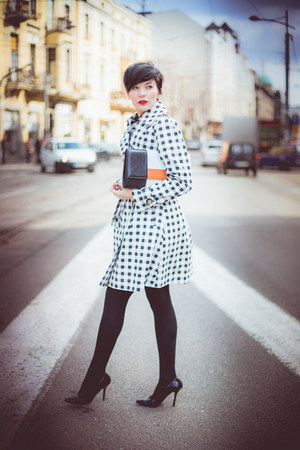 white Lulus coat - black Zara pumps