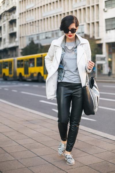 denim jacket New Yorker jacket - white leather jacket Viparo jacket