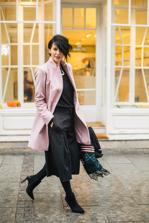 black Zara boots - light pink Jagger coat - Terranova scarf - black Choies pants