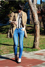 Camel-romwe-coat-blue-zara-jeans-white-bershka-shirt-dark-brown-lookat-bag