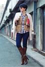 Dark-brown-stradivarius-boots-eggshell-oasap-coat-blue-cortefiel-shirt
