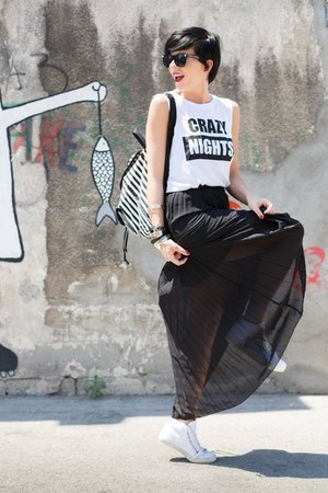 black Terranova bag - black Terranova skirt - white Terranova sneakers