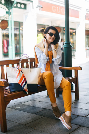 light brown Bata shoes - Oviesse shirt - orange Zara scarf - white Zara bag