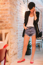 black Sheinside blazer - white lindex shirt - black Sheinside bag