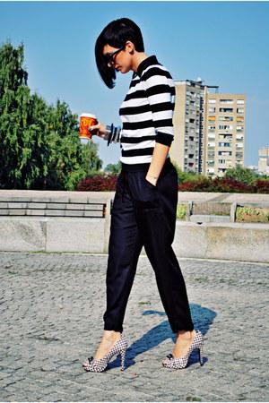 black Zara pants - black naughty monkey shoes - white Zara blouse