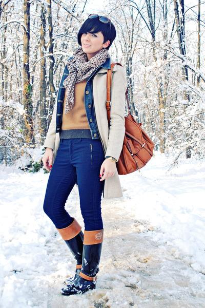 beige Zara coat - black Tommy Hilfiger boots - navy Dorothy Perkins jacket