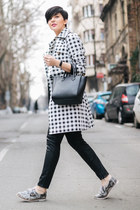 off white Lulus coat - heather gray Choies shoes - black Sheinside sweater