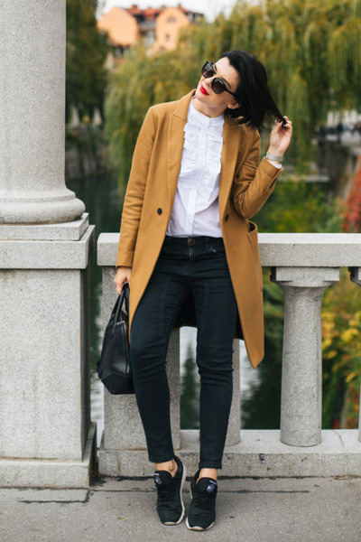 burnt orange Zara coat - black Mexx bag - white H&M blouse