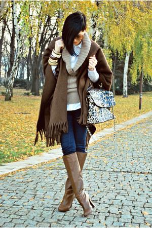 dark brown no brand coat - dark brown Stradivarius boots - camel Mango sweater