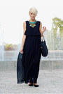 Black-chiffon-oasap-dress-black-faux-leather-romwe-bag-black-h-m-flats